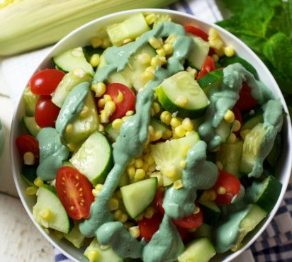Rainbow Salad with Green Superfood Dressing