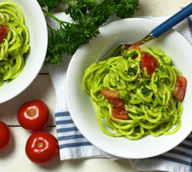 Creamy Avocado Parsley Sauce with Zucchini Pasta