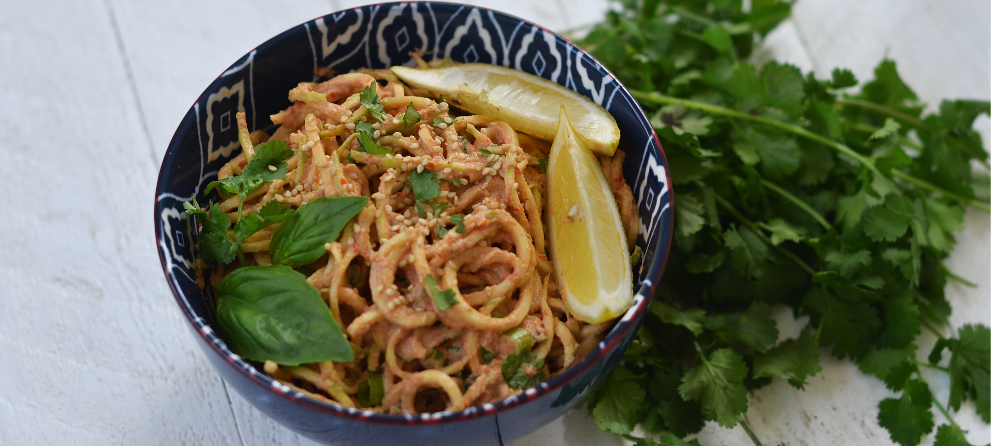 cucumber noodles with creamy curry tahini sauce