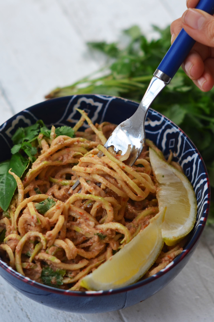 cucumber noodles with creamy tahini sauce