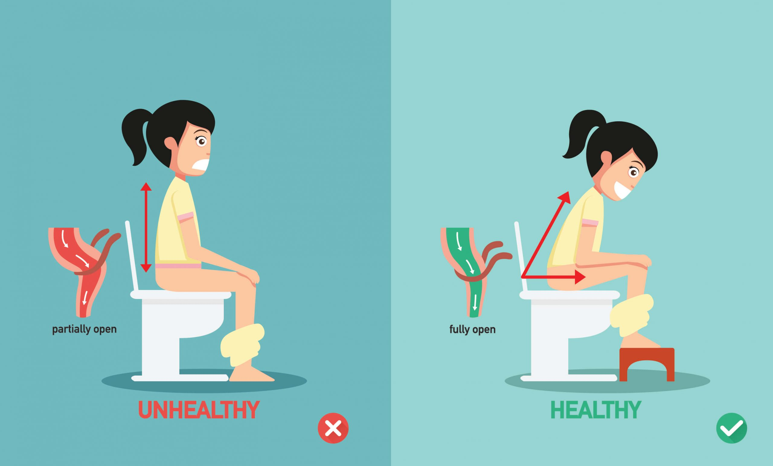 right and wrong way of sitting on toilet